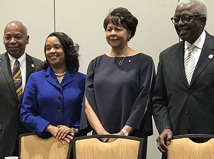 (from left to right) Dr. Elwood L. Robinson: Chancellor, Winston-Salem State University; Dr. Karrie G. Dixon: Interim Chancellor, Elizabeth City State University; Dr. Phyllis Worthy Dawkins: President, Bennett College; and Dr. Jimmy R. Jenkins Sr.: President, Livingstone College.